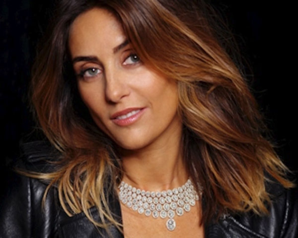 Diamond necklace from savoir faire high jewelry collection worn by jewelry designer Valérie Messika