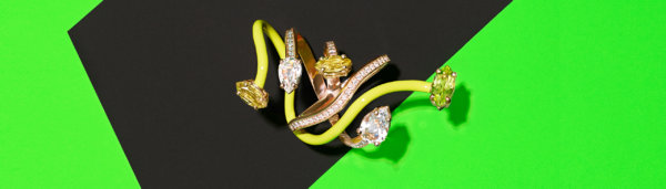 Vine wrapped diamond cocktail ring with intertwined yellow enamel and diamond band set in rose gold by Bea Bongiasca
