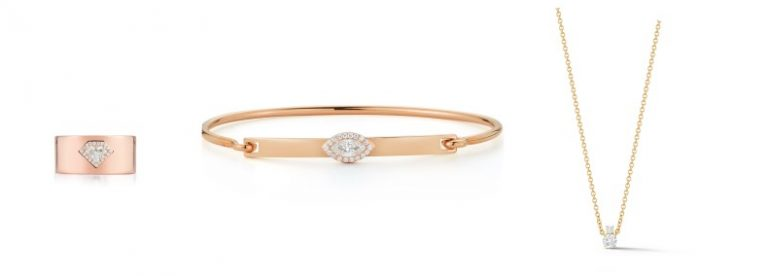 Diamond & gold cigar band ring, gold marquise diamond bangle, and round cut gold solitaire diamond necklace from Jemma Wynne