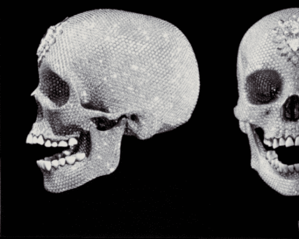 Platinum diamond skull encrusted with flawless diamonds and a pear shaped diamond on the forehead by Damien Hirst