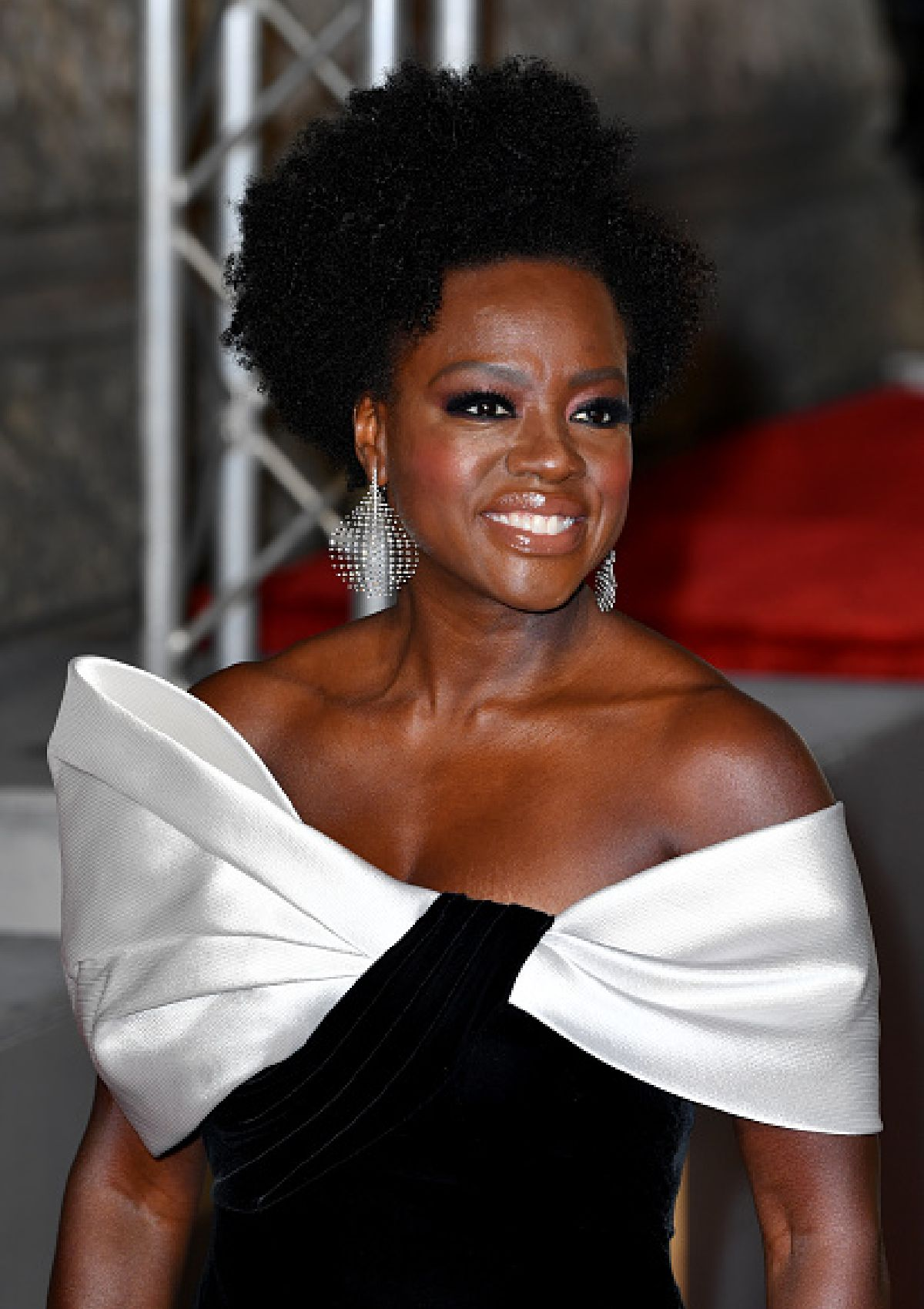 Viola Davis wearing Fernando Jorge's disco earrings featuring natural diamonds set in platinum gold at the EE British Academy of Film Awards