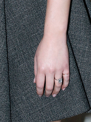 Closeup of Jennifer Lawrence's emerald cut diamond engagement ring