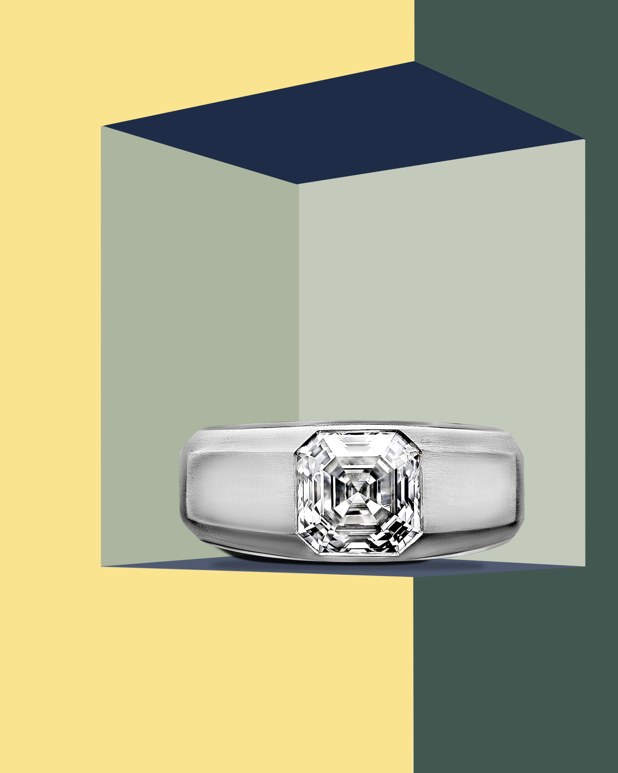 Beveled edge platinum gypsy set ring with a center Asscher cut diamond from Hancocks