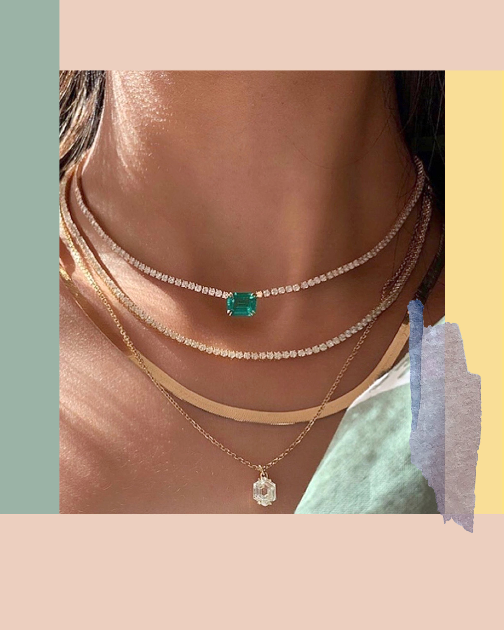 Emerald gemstone and pave diamonds set within gold layered necklaces from Anita Ko