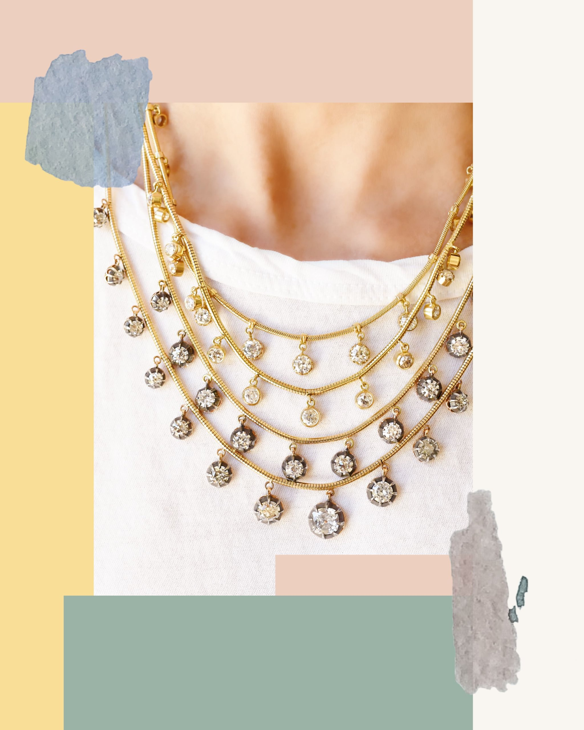 Multicolored round cut diamonds extended from gold layered necklaces from Jenna Blake