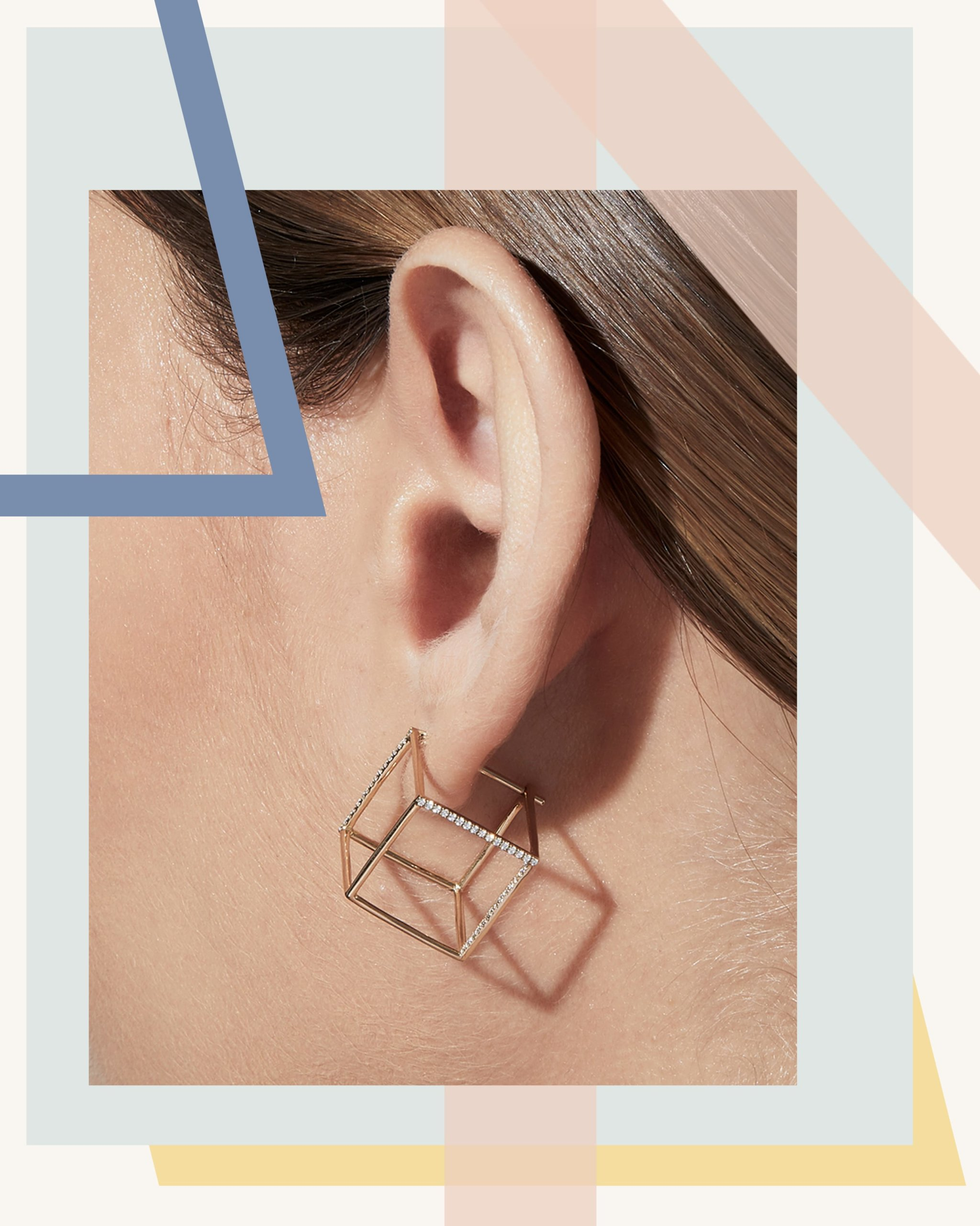Square diamond earring in gold by Shihara