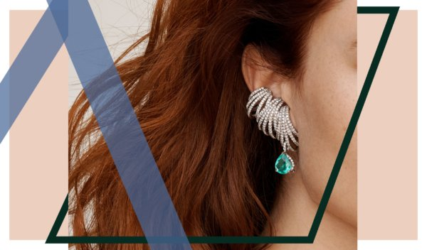 High jewelry pave diamond ear cuffs with an emerald drop earring