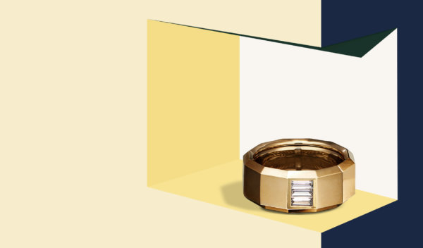 Faceted gypsy ring in yellow gold with a baguette diamond from David Yurman