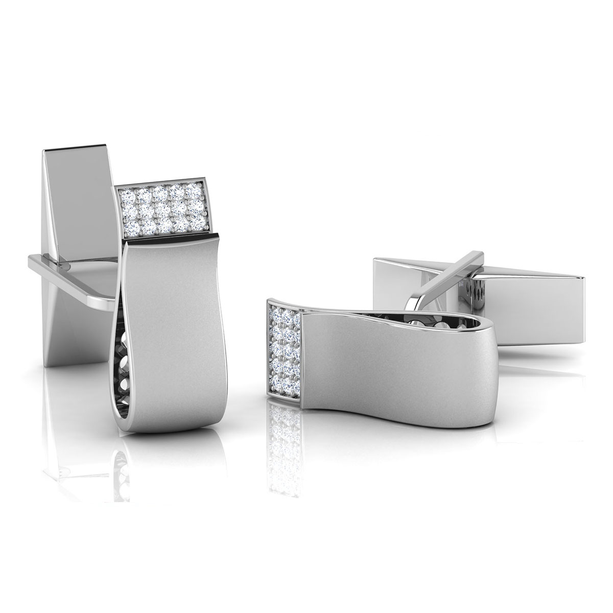 Natural diamond cufflinks
