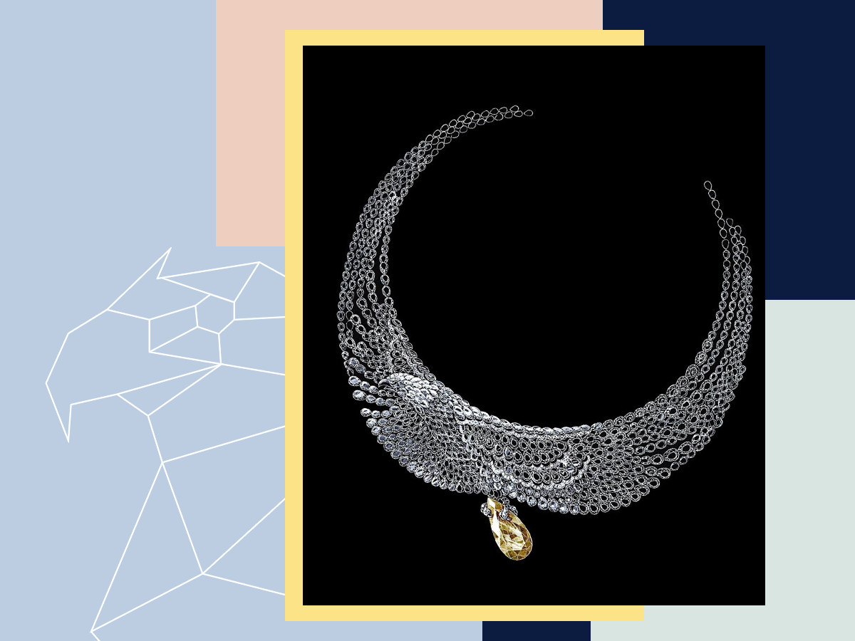 Natural diamond necklace in the shape of a majestic eagle