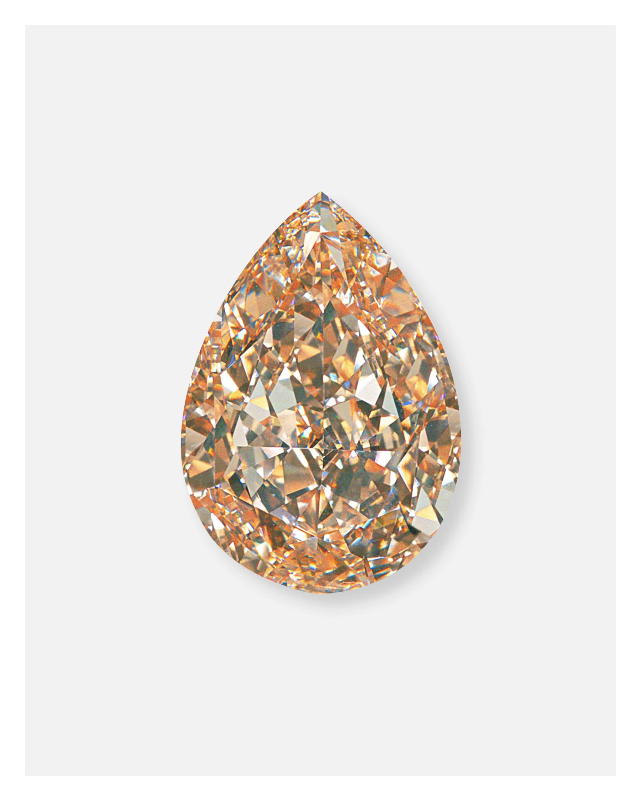 Pear shaped brown & yellow diamond from Anna Hu's diamond necklace for the ALROSA diamond auction