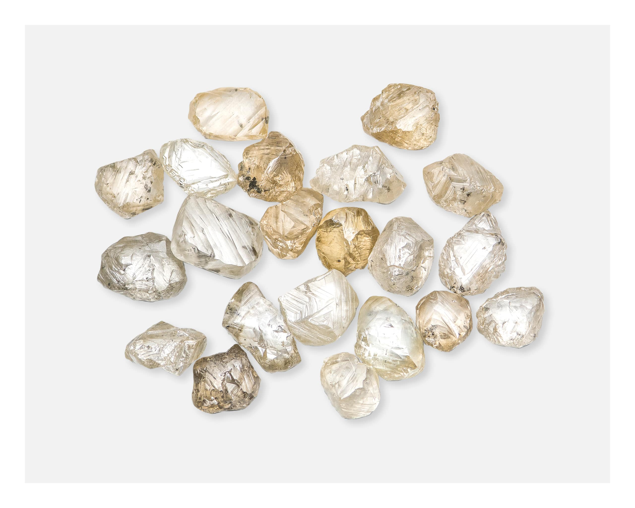 Assorted white diamonds, brown diamonds & brow yellow diamonds selected by Annu Hu for the ALROSA diamond auction
