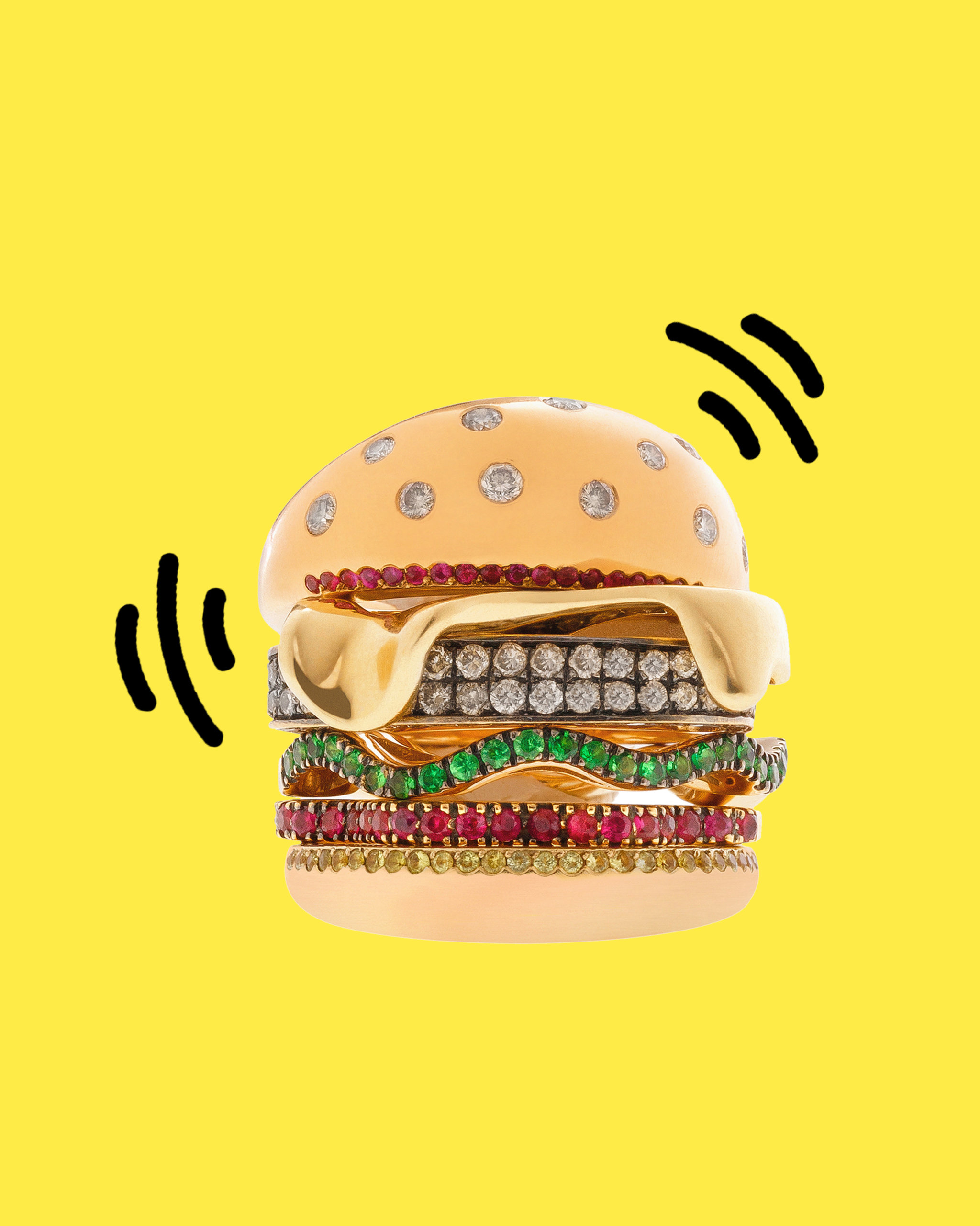 Round cut colorful diamonds set within a hamburger emoji ring from Nadine Ghosn