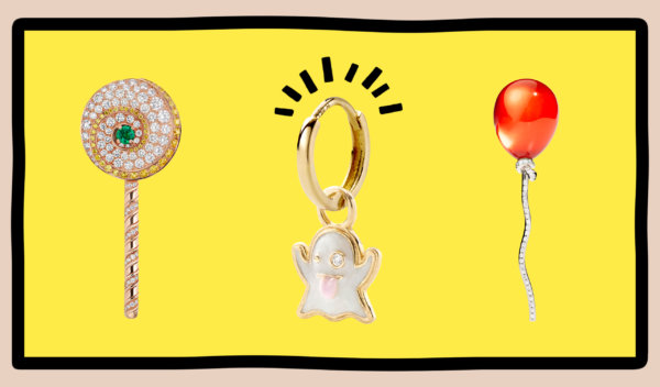 Round cut & pave diamonds within lollipop, ghost, and balloon emoji jewelry pendants from Bulgari, Alison Lou, and Vhernier