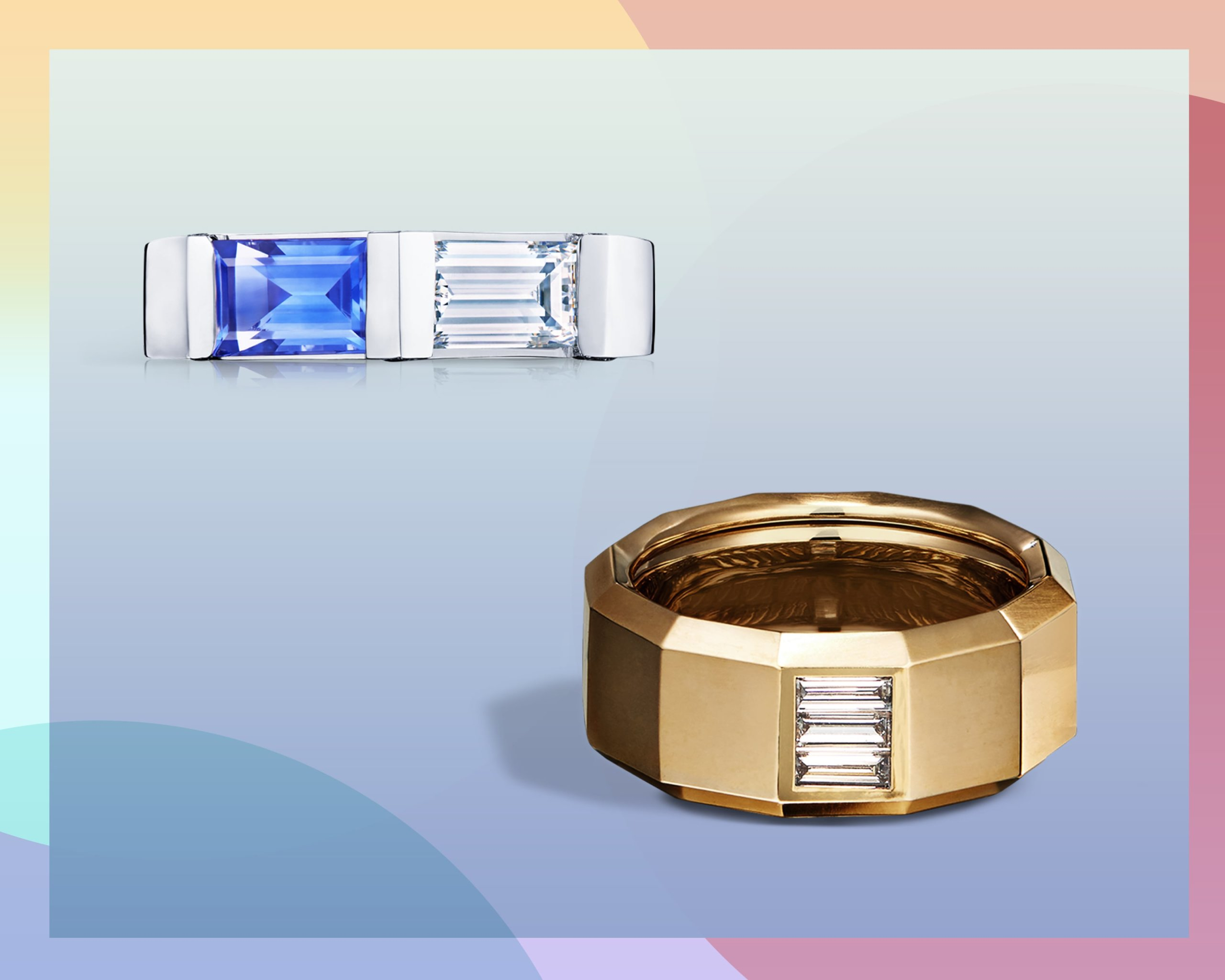 Sapphire and white diamonds set within east west engagement rings on platinum and yellow gold bands from Kwiat & David Yurman