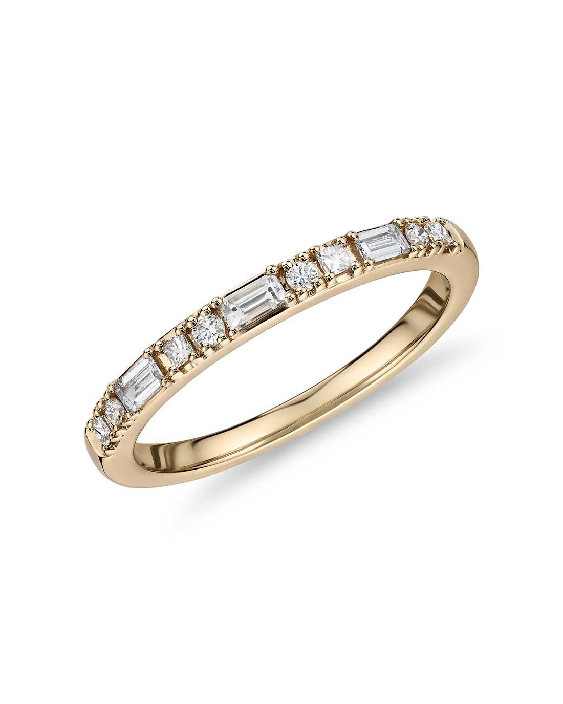 Round, baguette, and princess cut diamond ring set within 14k gold
