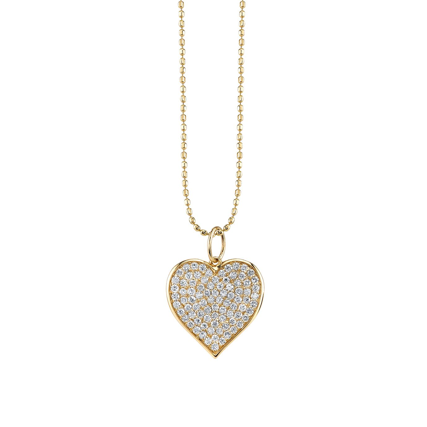 Heart pendant necklace adorned with pavé diamonds set in 14k gold