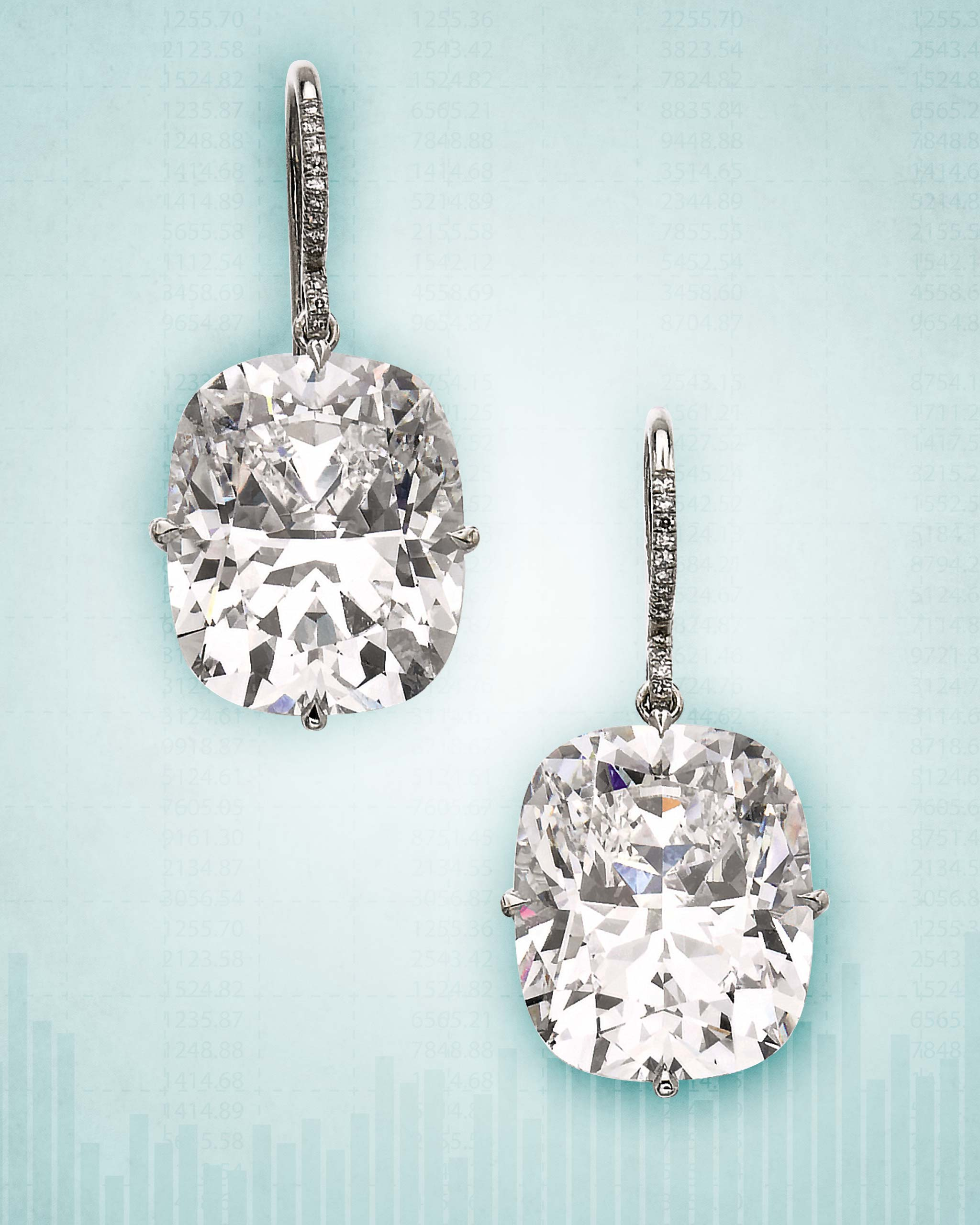 13.5-carat D-color cushion cut diamond earrings sold at the 2020 Sotheby's jewelry auction