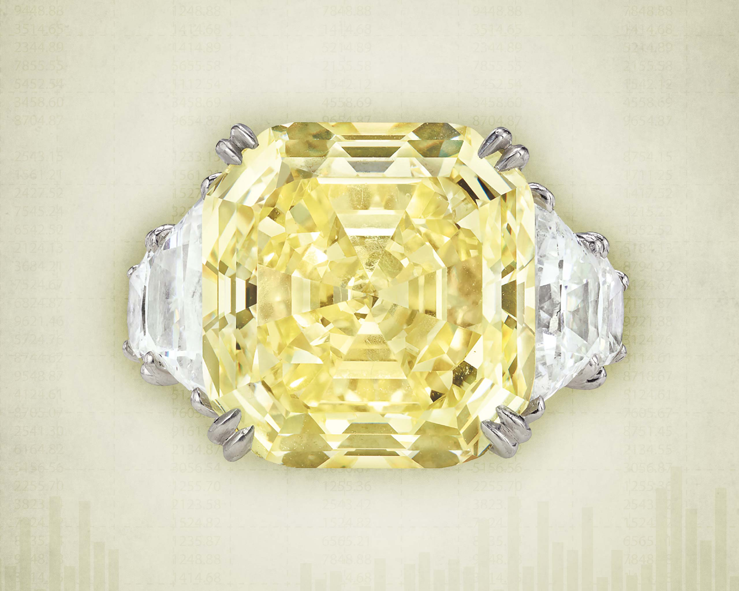 De Beers 16.2-carat fancy intense yellow diamond ring with 2 trapezoid diamonds sold at the 2020 Phillips auction