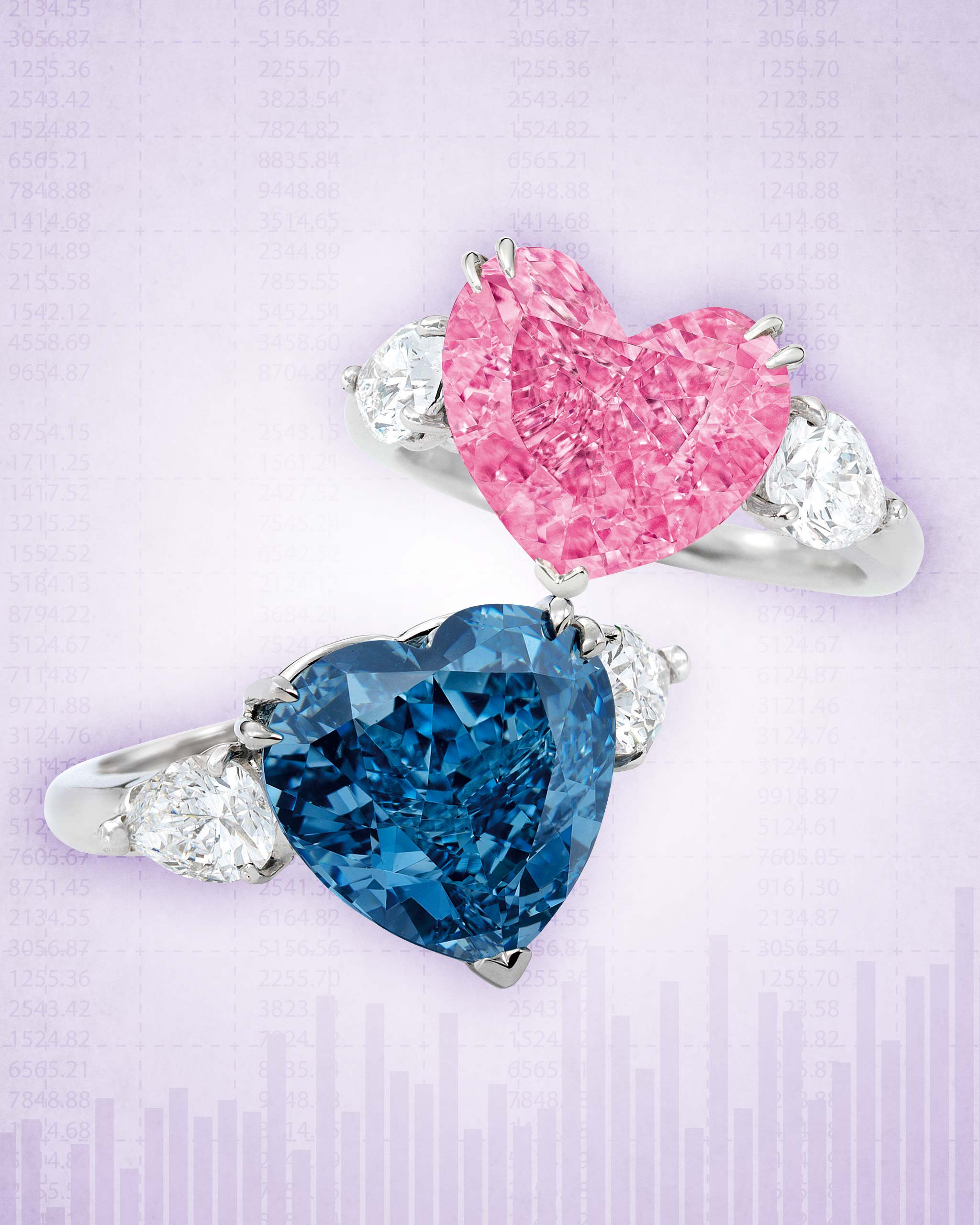 5-carat blue heart shaped diamond ring and 4-carat heart shaped pink diamond ring sold at the Sotheby's jewelry auction