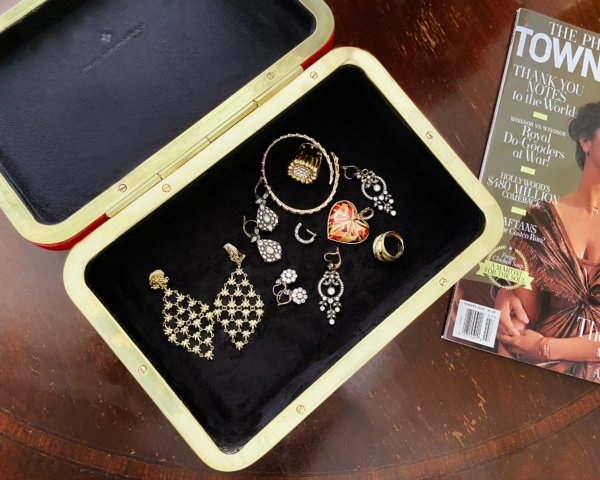Stellene Volandes's jewelry box with an assortment of diamond earrings, bold gold diamond rings, gold bracelet and more