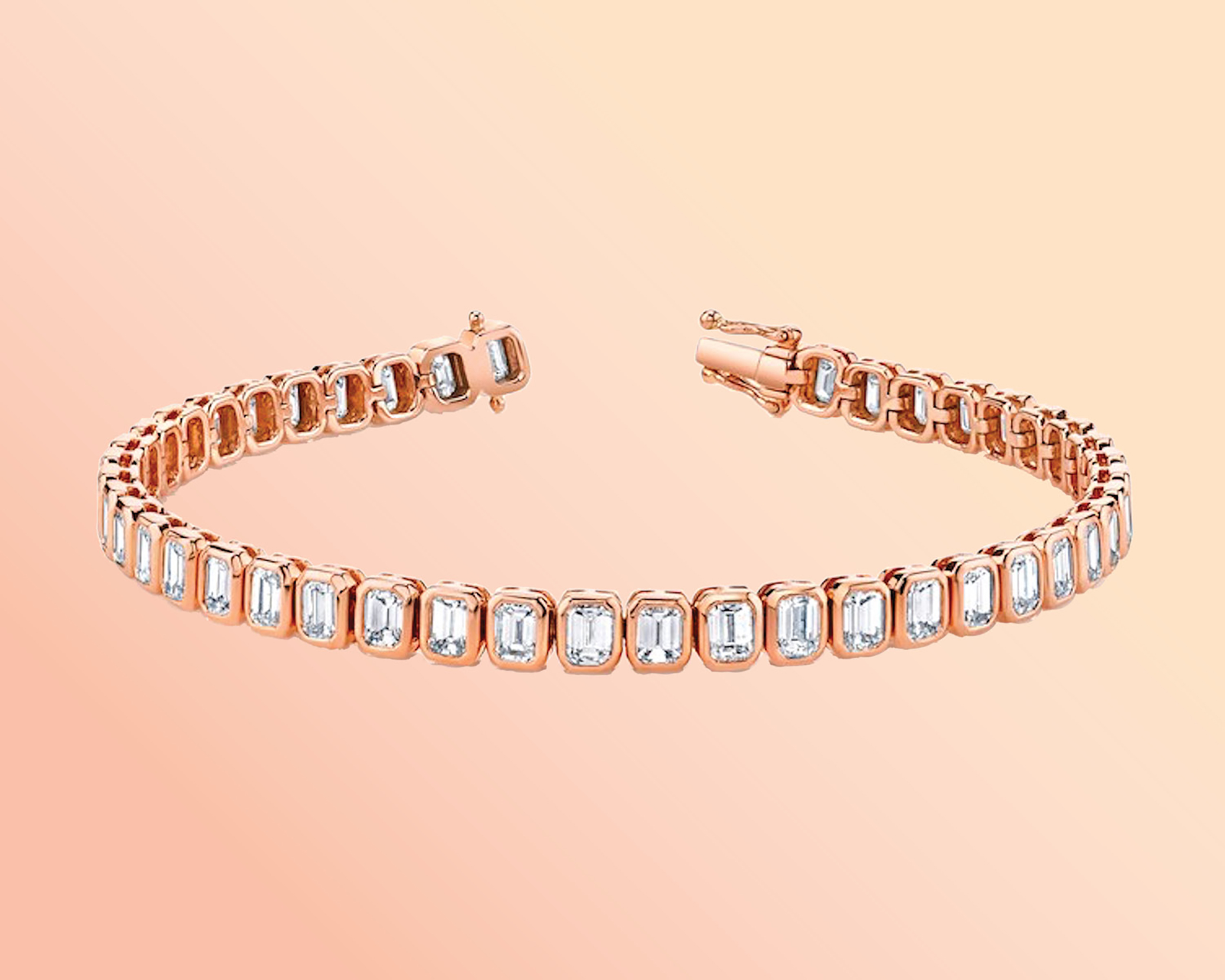 Emerald cut diamond tennis bracelet with 18k rose gold from Anita Ko