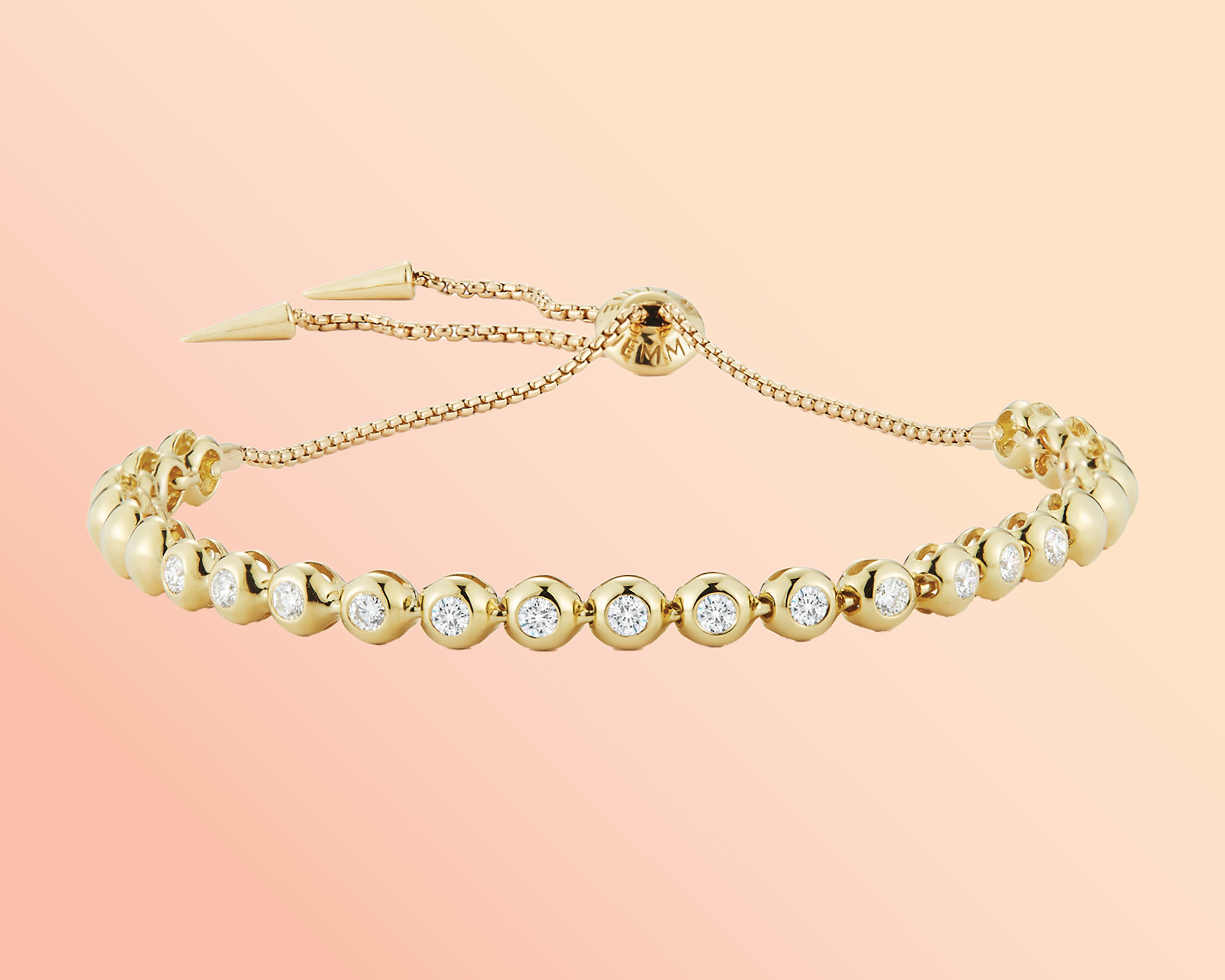 Prive Luxe Small diamond ball gold slider bracelet from Jemma Wynne featuring a tennis bracelet design with round cut diamonds set in yellow gold