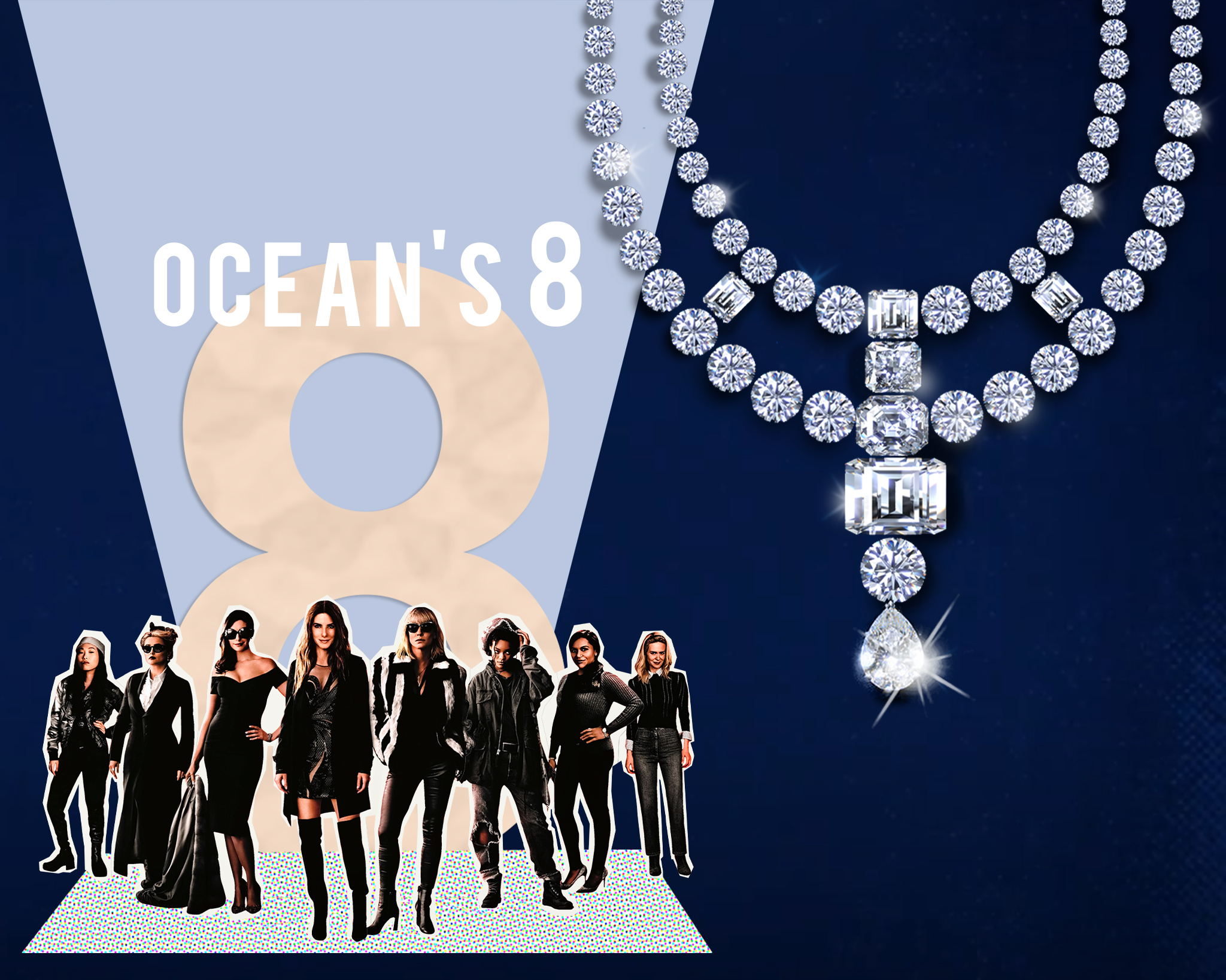 The girl gang in Oceans 8 swindle away the legendary Toussaint necklace from the MET Gala