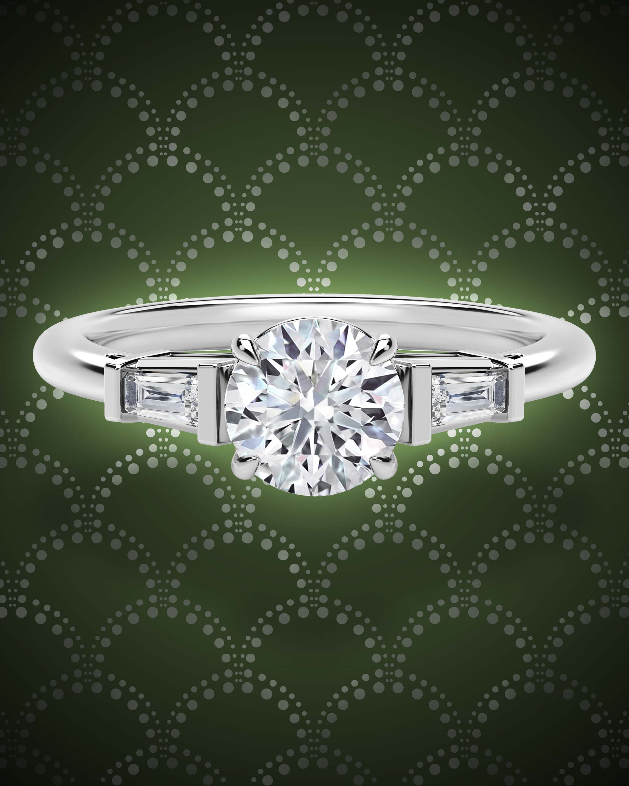Round cut diamond Art Deco ring hugged by baguette diamonds set within a platinum band from Forevermark