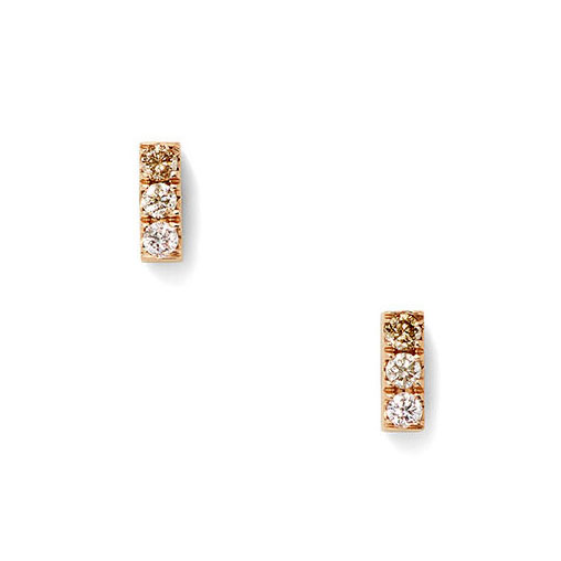 Stacked ombre diamond stud earrings set within 18k rose gold