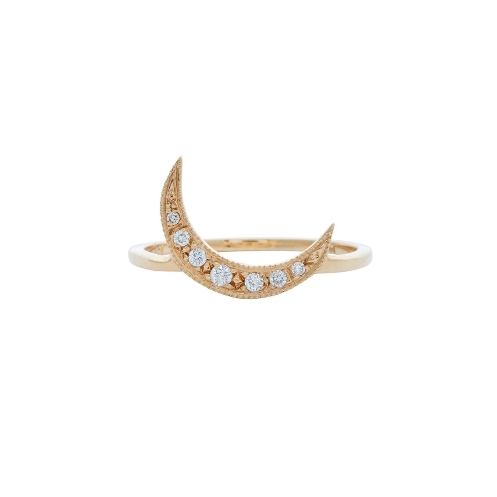 Diamond encrusted crescent moon ring made of solid 14k gold