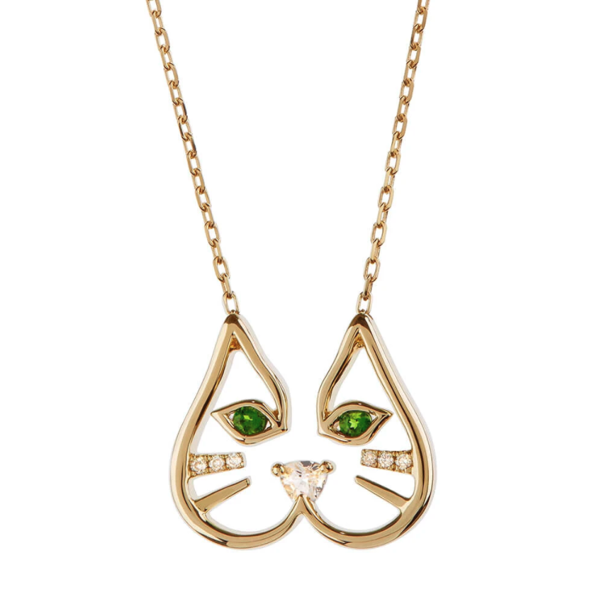 Diamond pendant necklace in the shape of a cat with green dioptase eye jewels and a white diamond nose