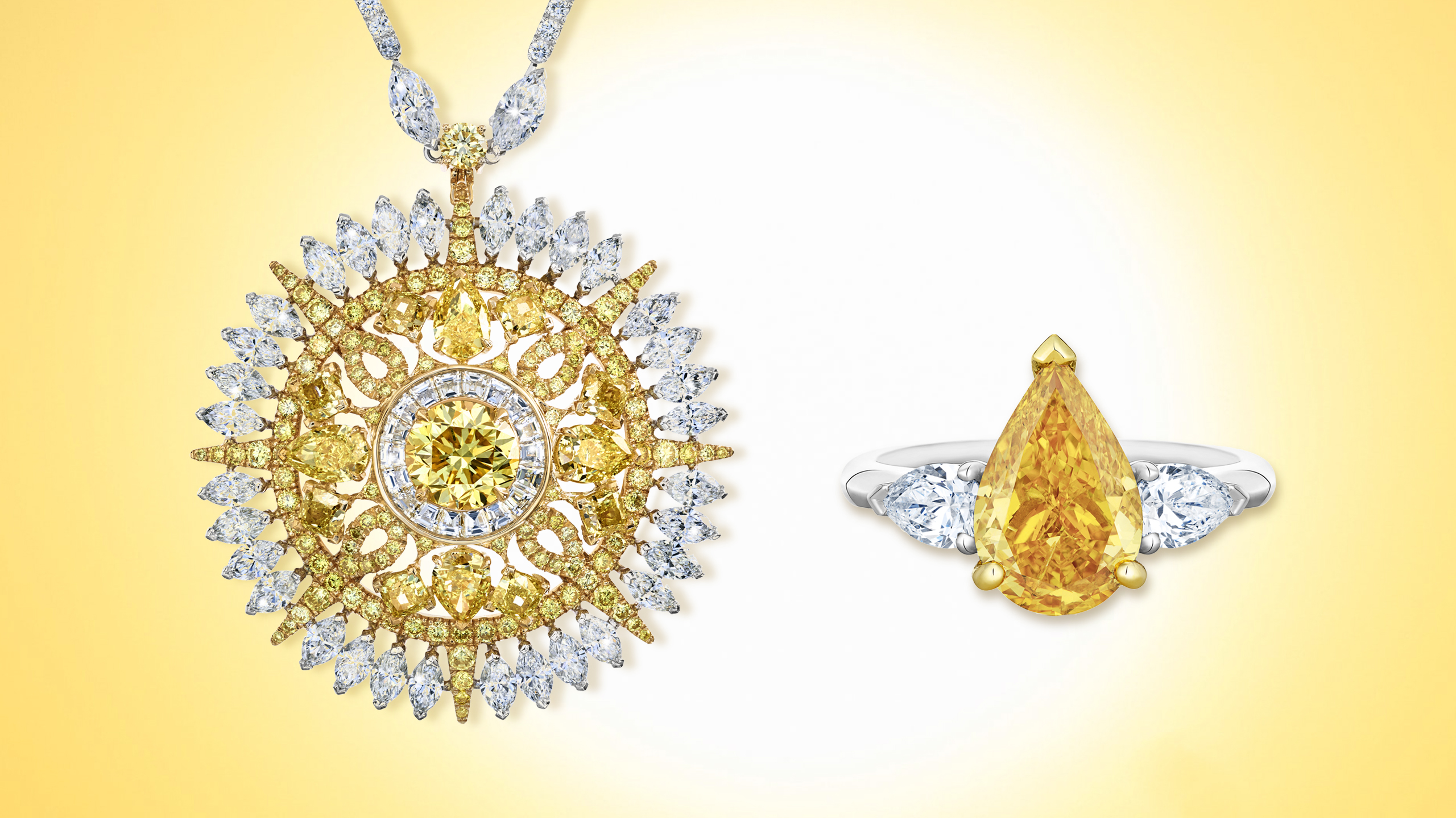 The Ra Medallion Necklace & Solitaire Ring: yellow round cut diamond pendant necklace & pear shaped yellow diamond ring