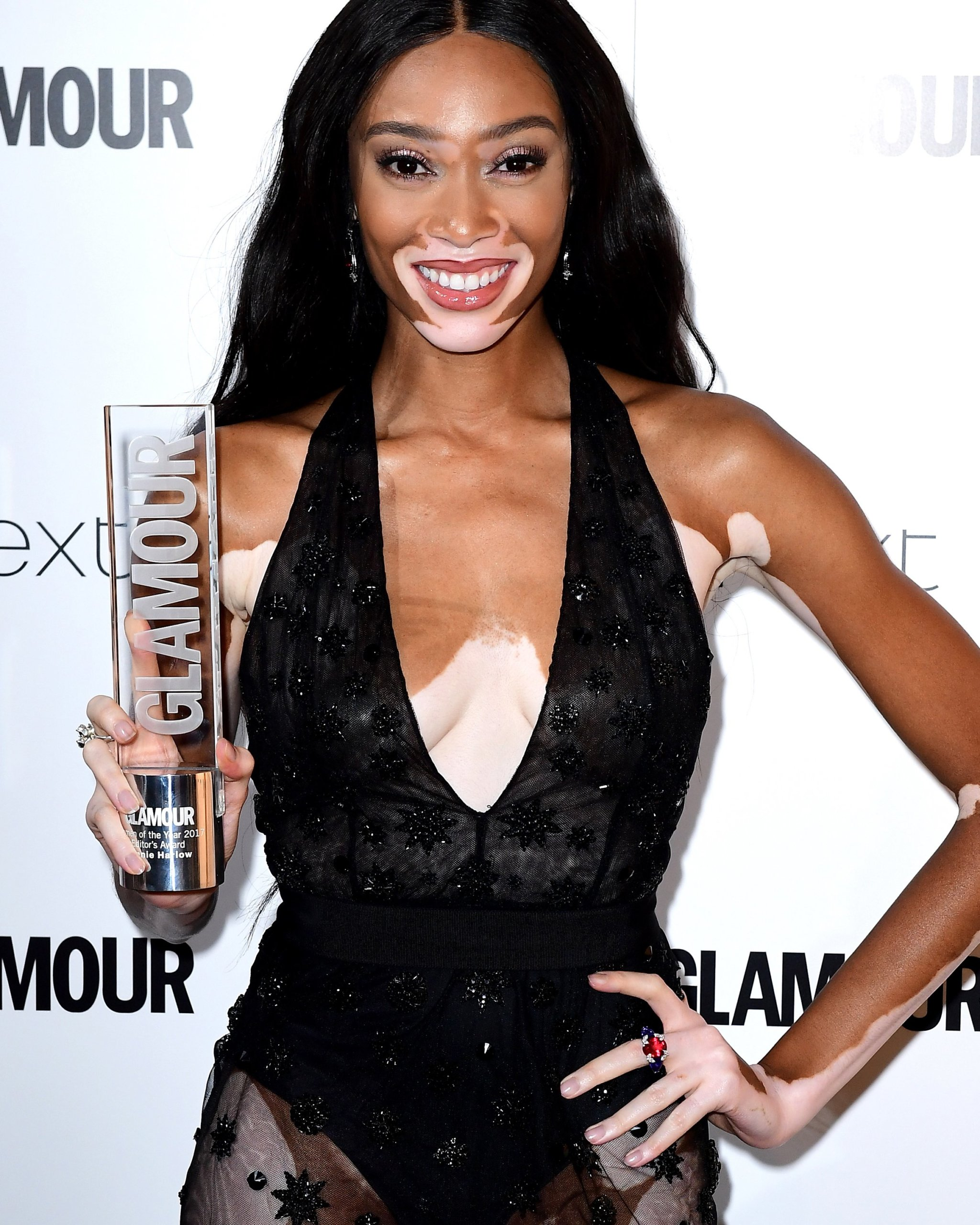 Diamond encrusted ring and matching diamond drop earrings from Mozafarian Brand worn by Winnie Harlow