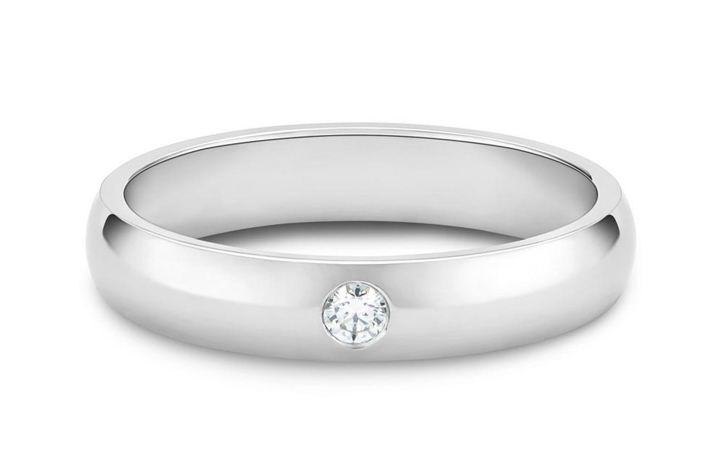 Classic One Diamond Band in Platinum
