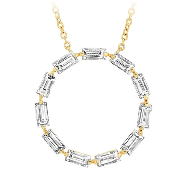 Diamond Baguette Circle Necklace