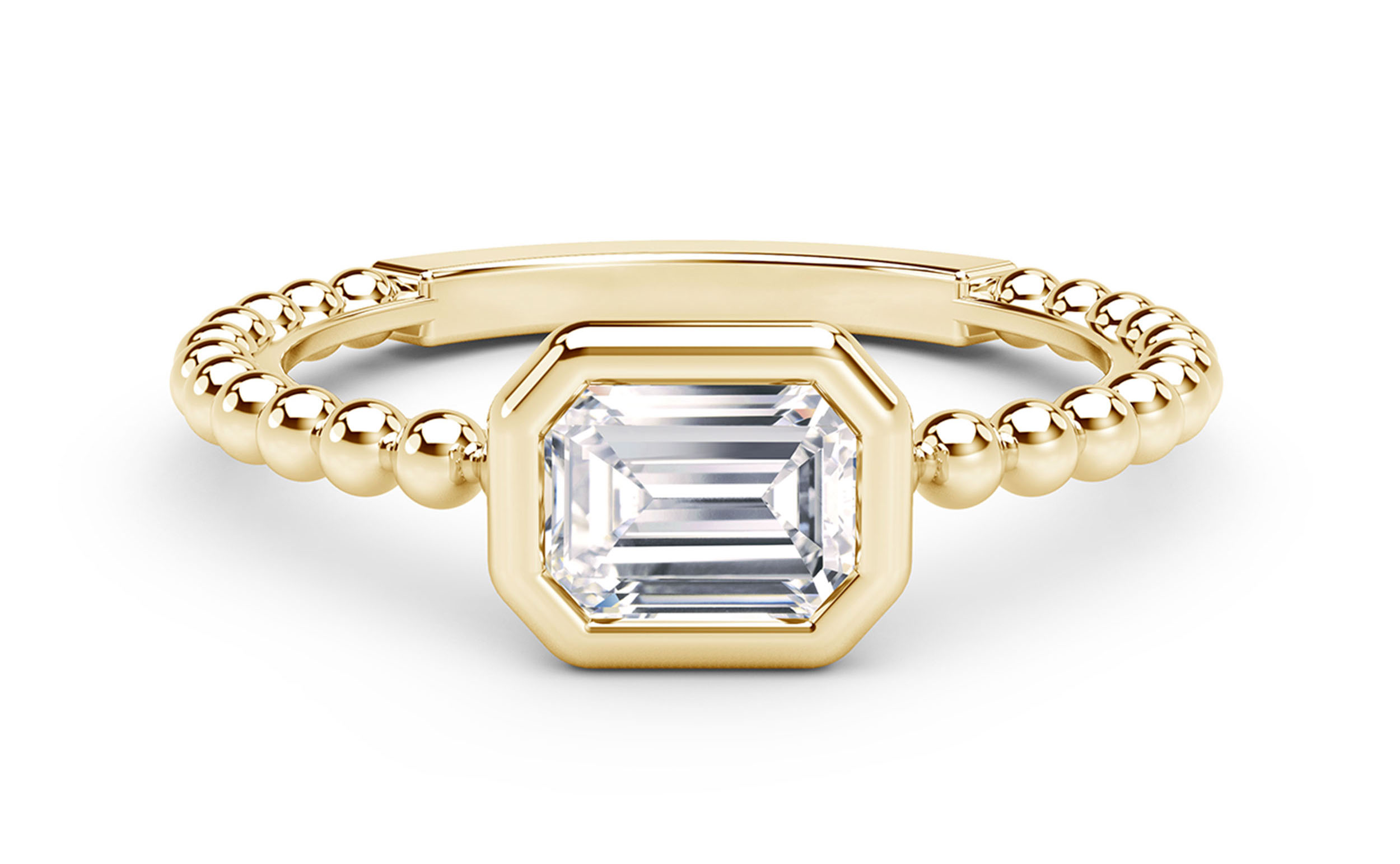 Tribute Collection Diamond Emerald Beaded Ring, 18k Yellow Gold