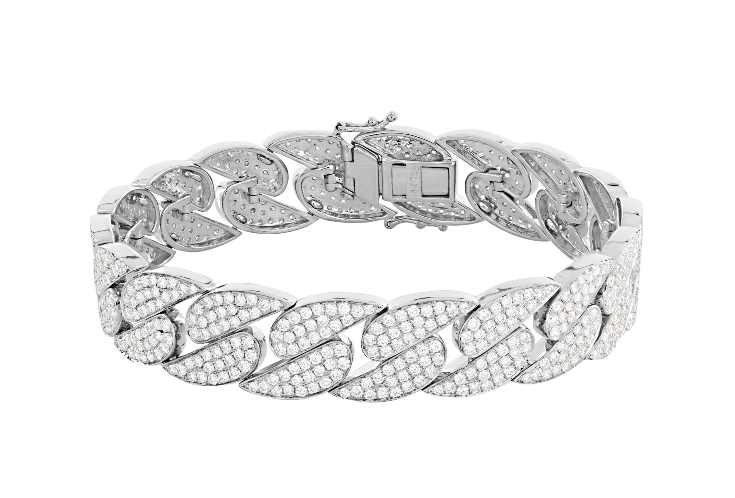 London Collection 18k White Gold and Pave Diamond Curb Link Bracelet
