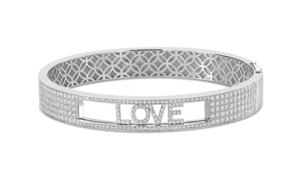 "London Collection White Gold & Pave Diamond Sliding ""LOVE"" Bangle Bracelet"