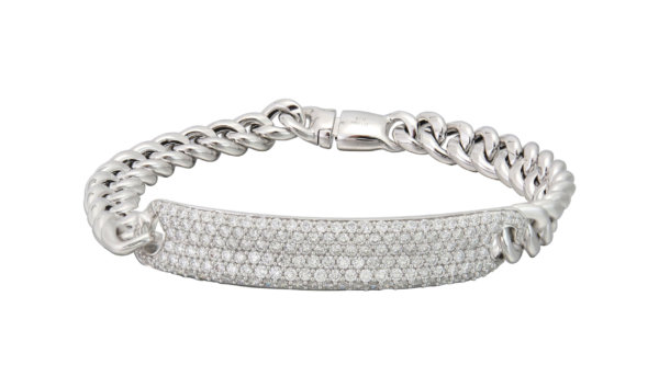 18K White Gold and Pave Diamond Curb Link Bracelet