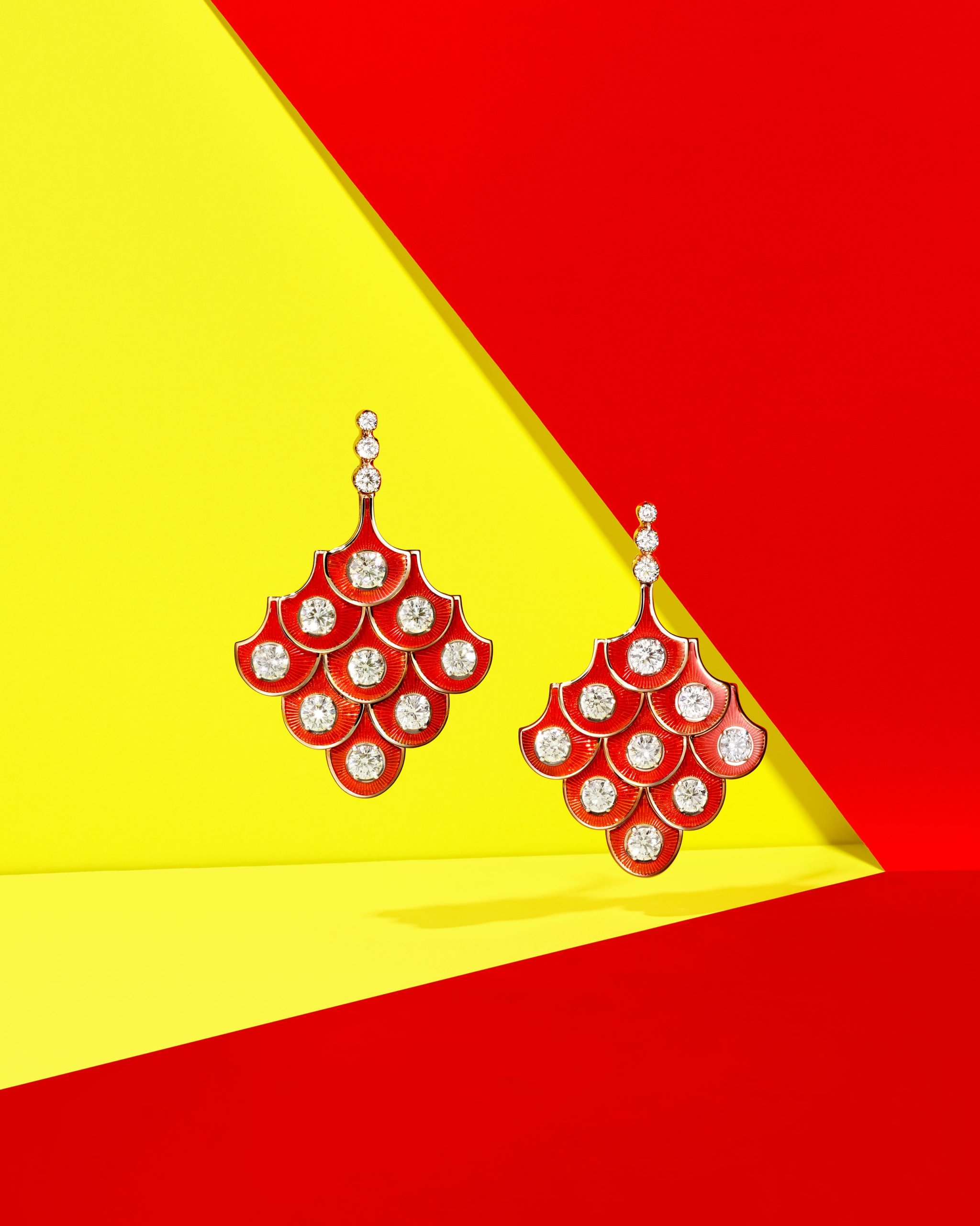 Red enamel and diamond drop earrings in a fan design by Selim Mouzannar