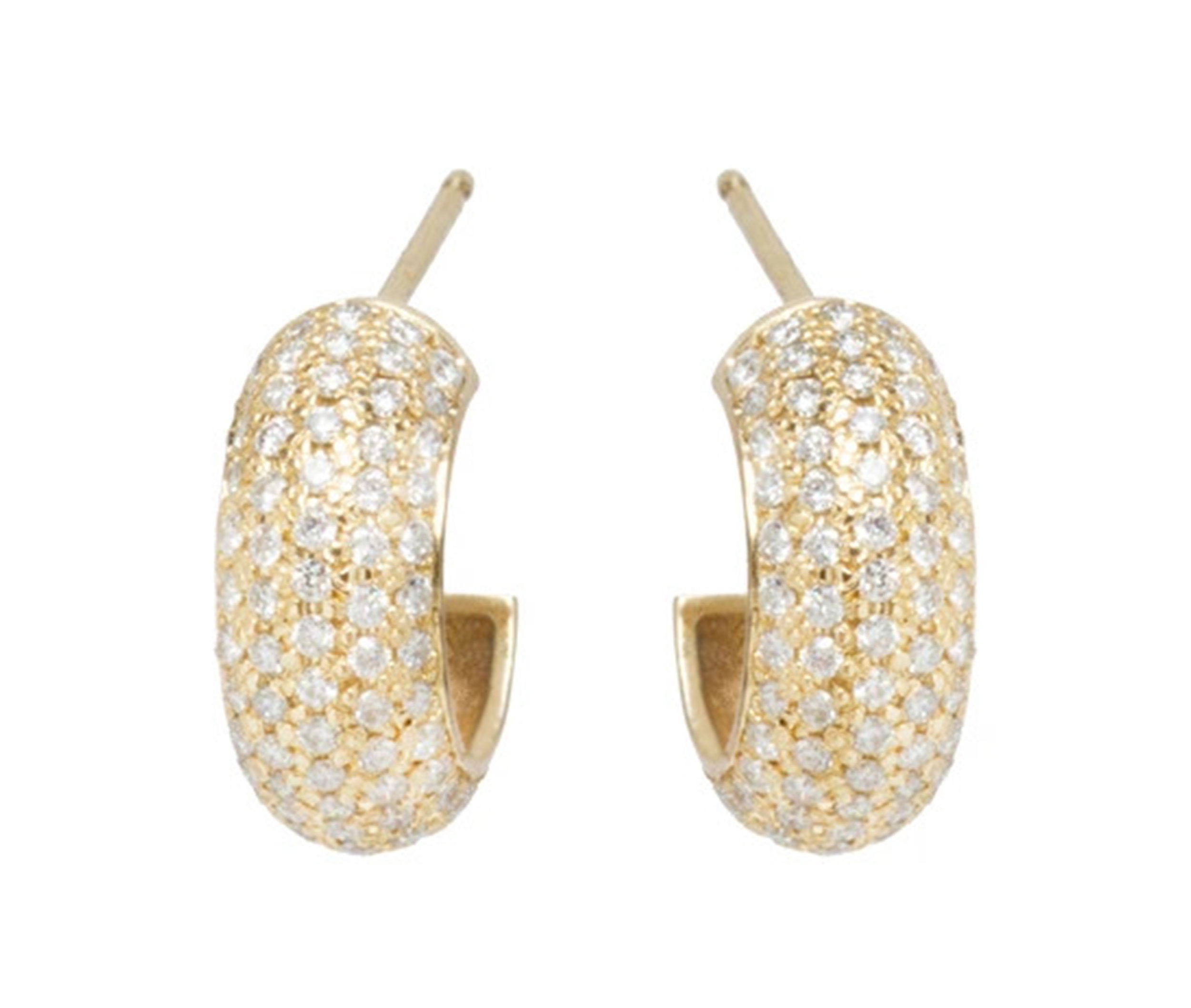 14k Chubby Huggie Hoops Covered In Pave Diamonds