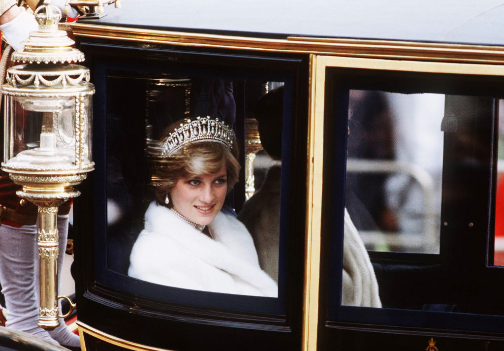 The Lover's Knot Tiara and pearl pendant earrings worn by Princess Diana