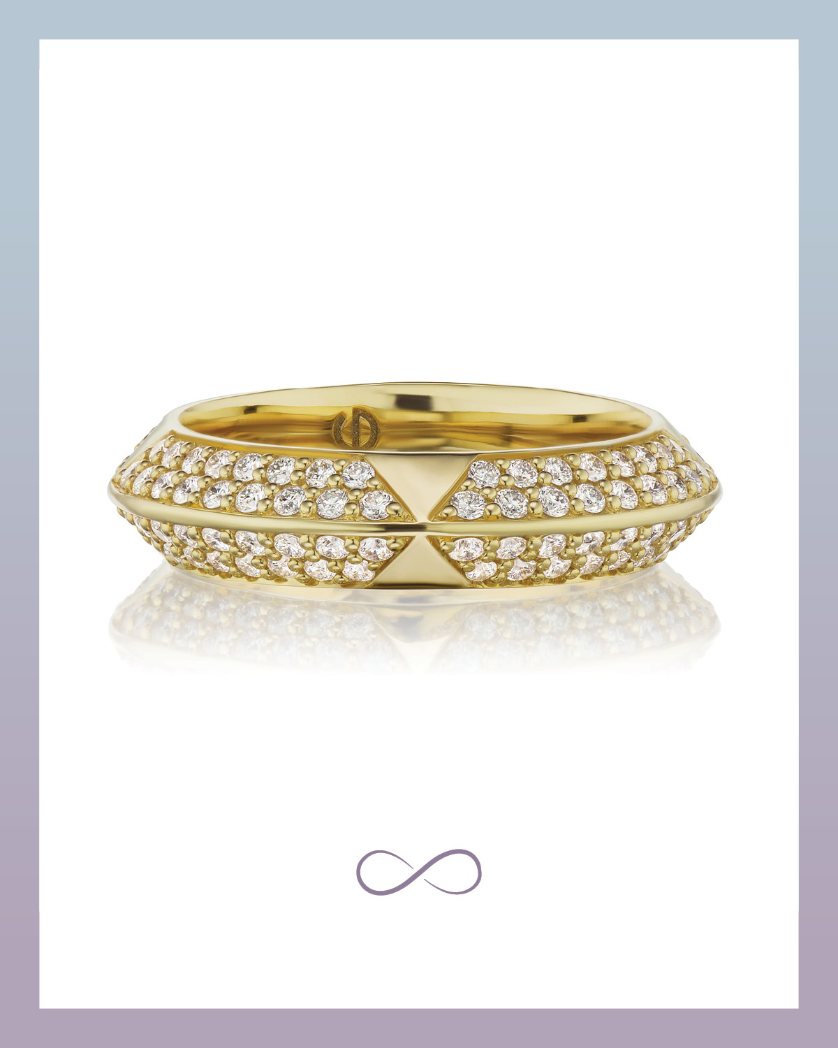 Rosa Two row pave eternity band with diamonds from Harwell Godfrey set in yellow gold