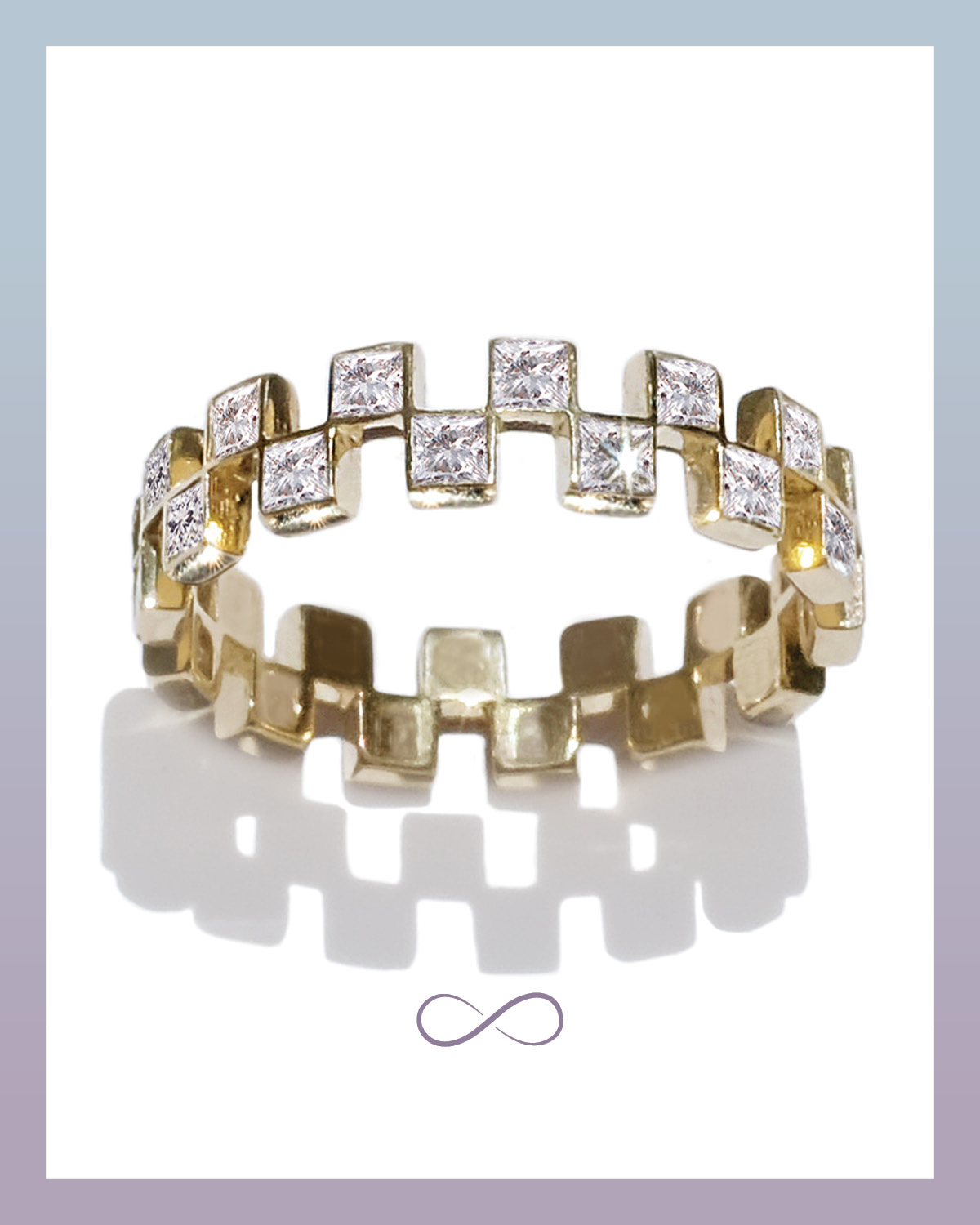 Anerise invisible set princess cut diamond eternity band from Kat Kim that features a checker board design set in yellow gold