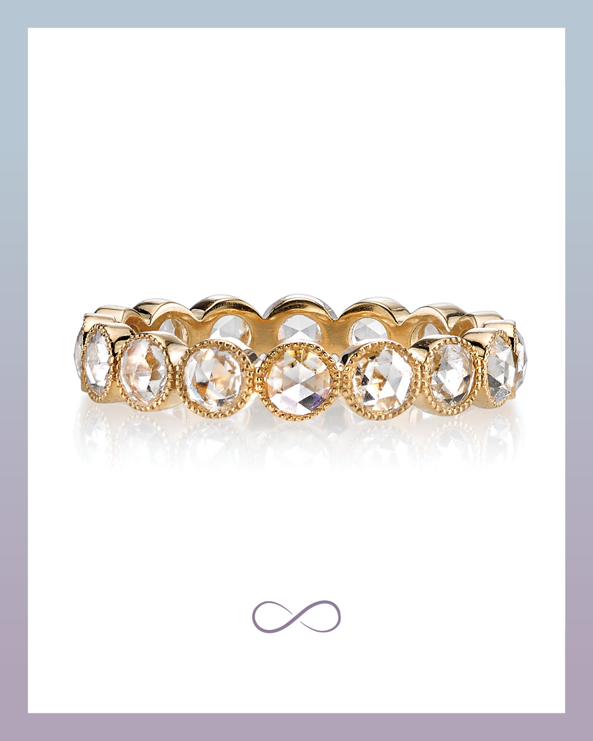 Large Gabby bezel set yellow gold eternity band with rose cut diamonds from Single Stone