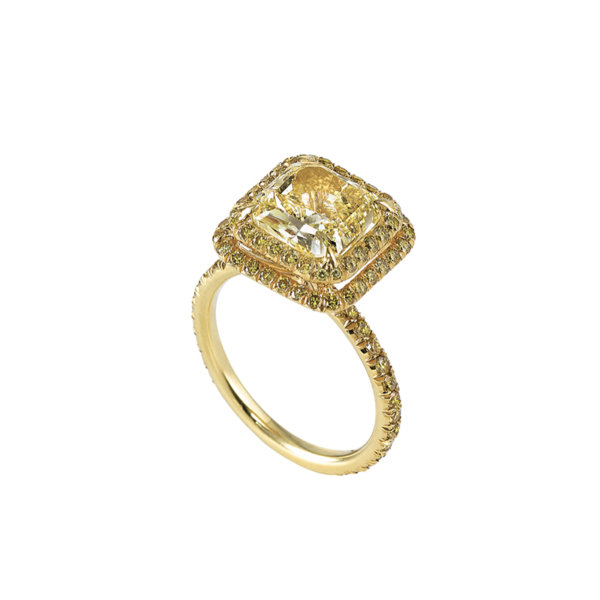 Fancy Yellow Radiant Cut with Pave Set Yellow Diamonds