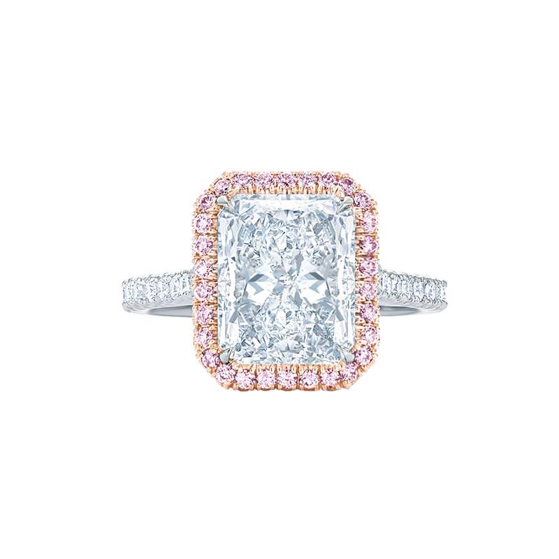 Radiant Cut Diamond Engagement Ring with a Thin Pave Pink Diamond Halo