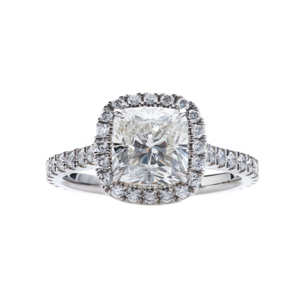 Center Stone Cushion Cut Halo Engagement Ring in Platinum