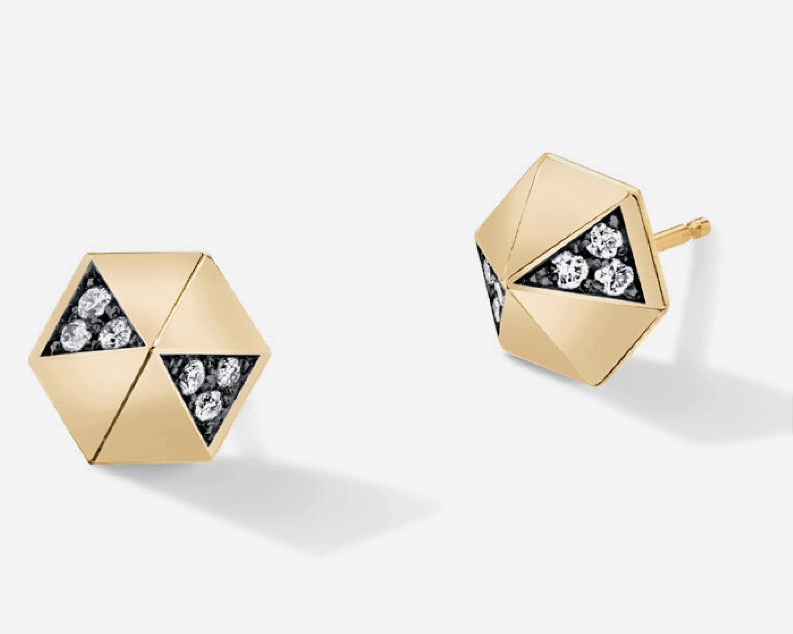Pyramid Diamond Stud Earrings from Harwell Godfrey featuring a geometric pyramid earring design with white diamonds set in black rhodium